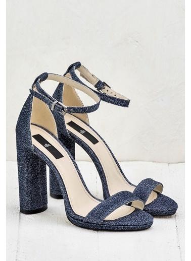 Elle Kalın Topuklu Abiye Ayakkabı Mavi
